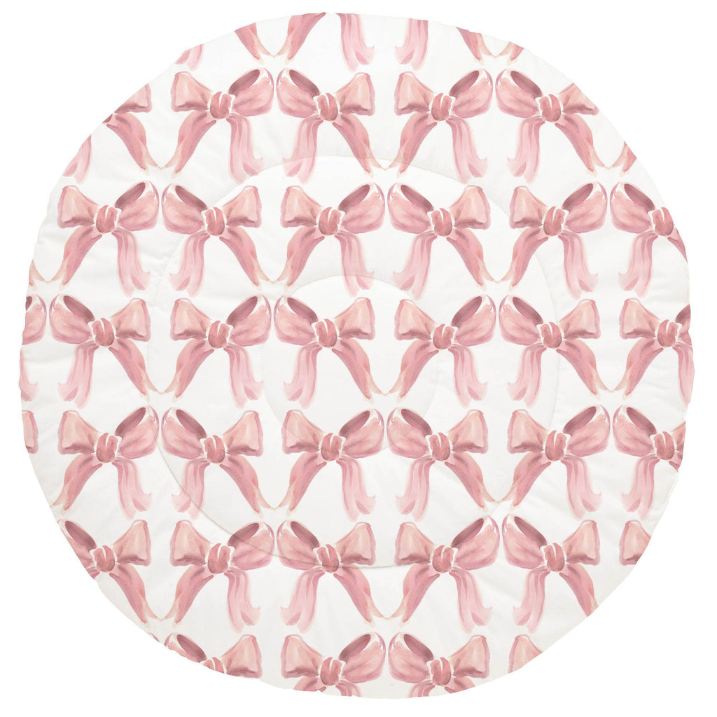 Product image for Pink Watercolor Bows Baby Play Mat