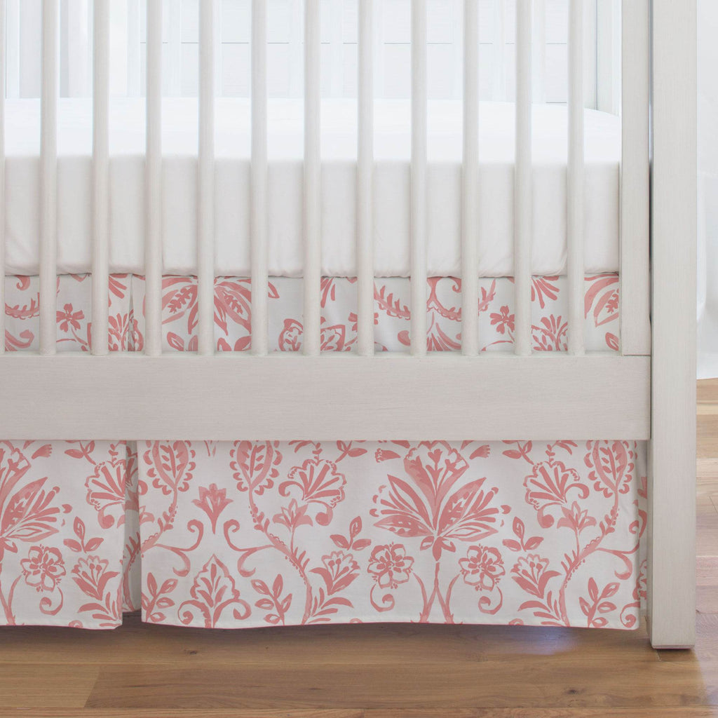 Product image for Coral Pink Coastal Damask Crib Skirt Single-Pleat