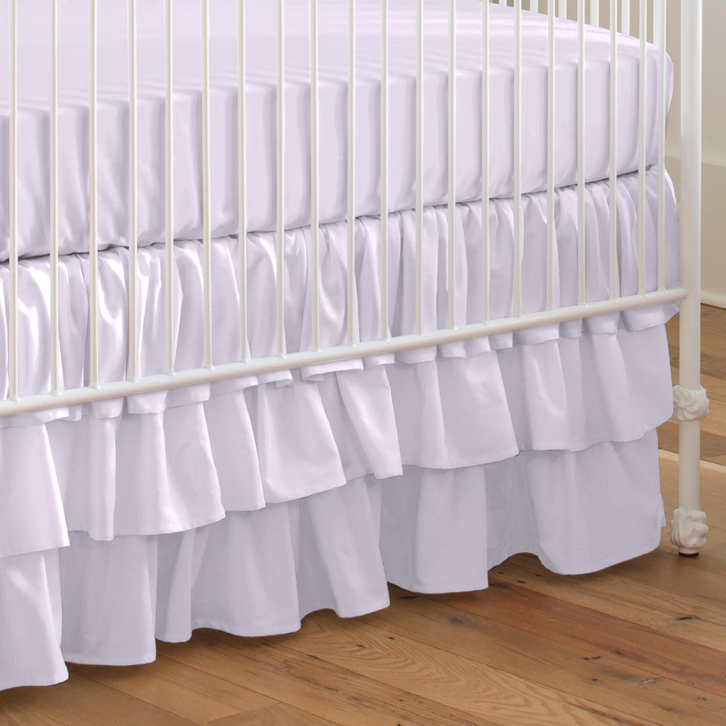 Product image for Solid Lilac Crib Skirt 3-Tiered
