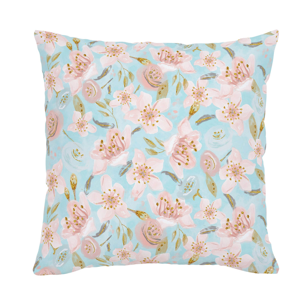 Product image for Aqua and Pink Hawaiian Floral Throw Pillow