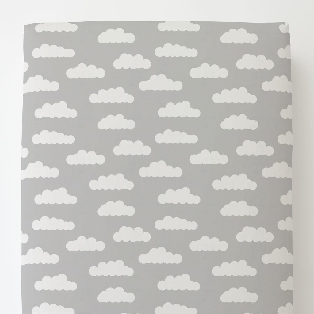 Product image for Silver Gray and White Clouds Toddler Sheet Bottom Fitted