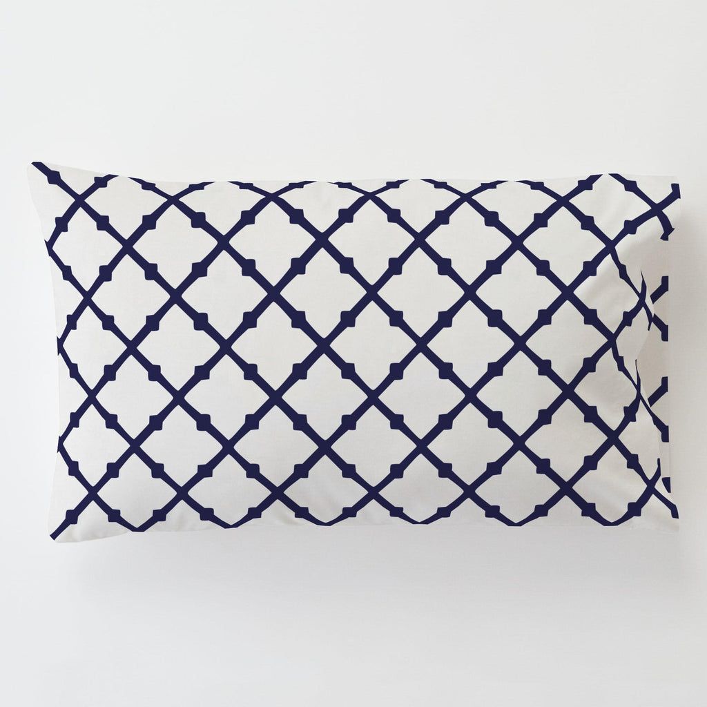 Product image for Windsor Navy Lattice Toddler Pillow Case with Pillow Insert