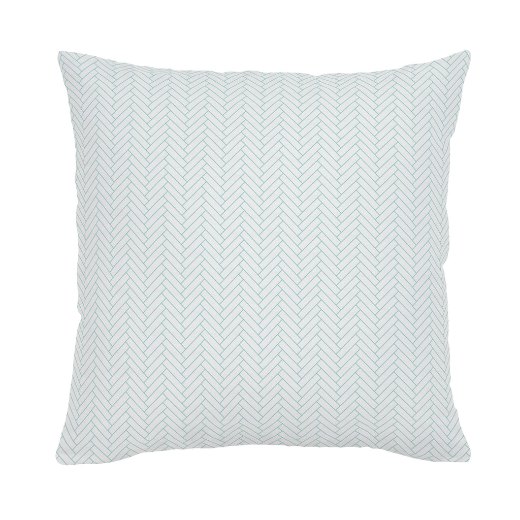 Product image for White and Mint Classic Herringbone Throw Pillow
