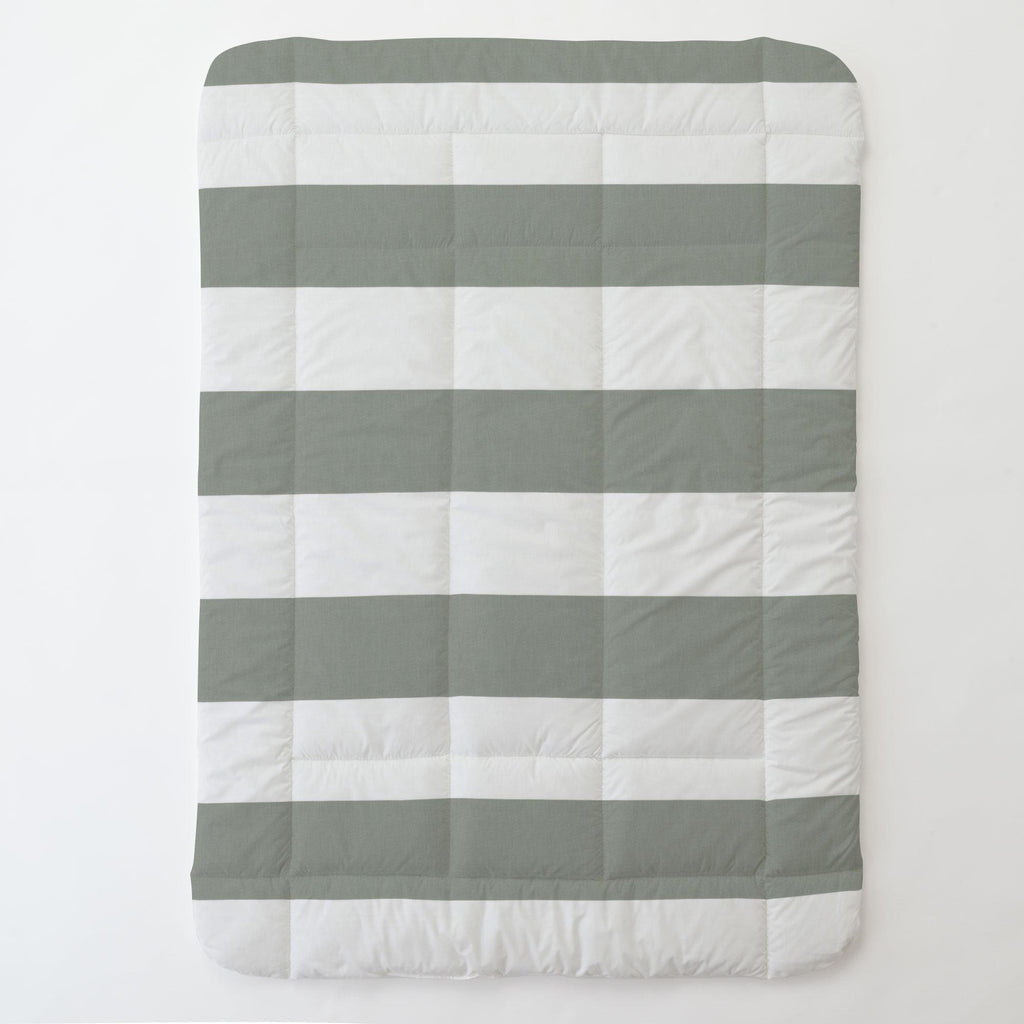Product image for Cloud Gray Horizontal Stripe Toddler Comforter