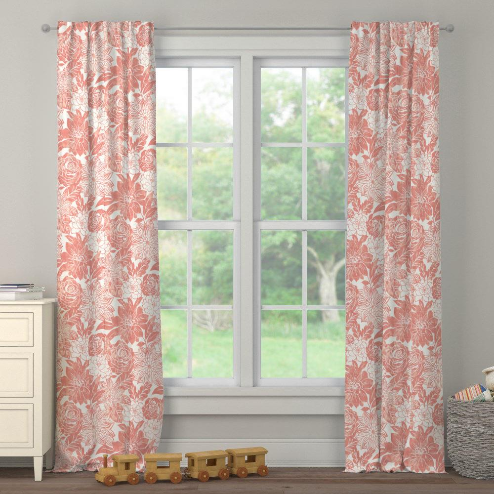 Product image for Light Coral Modern Blooms Drape Panel