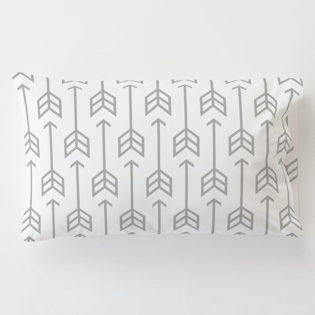 Product image for Silver Gray Arrow Toddler Pillow Case with Pillow Insert