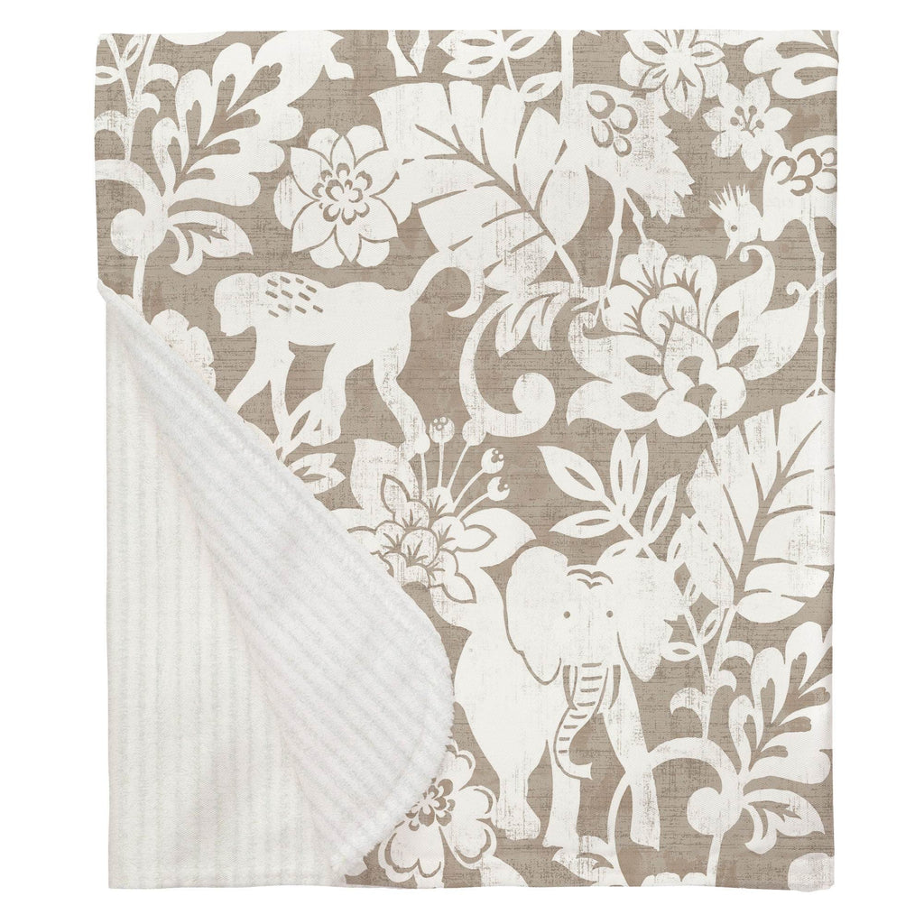 Product image for Taupe and White Jungle Baby Blanket