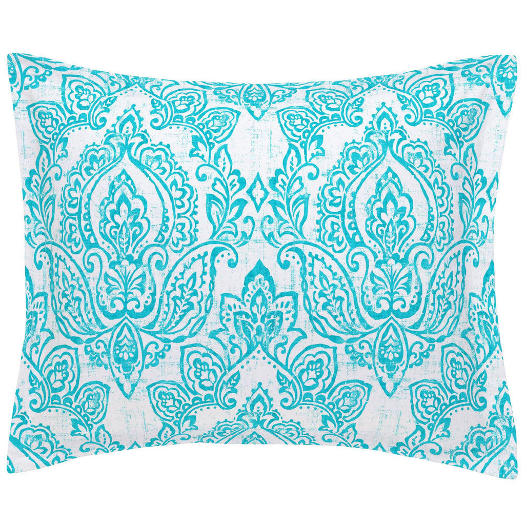 Product image for White and Teal Vintage Damask Pillow Sham