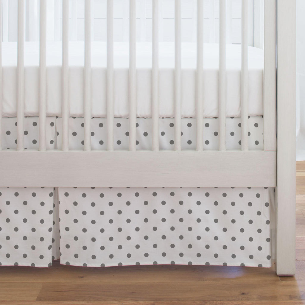 Product image for White and Gray Polka Dot Crib Skirt Single-Pleat