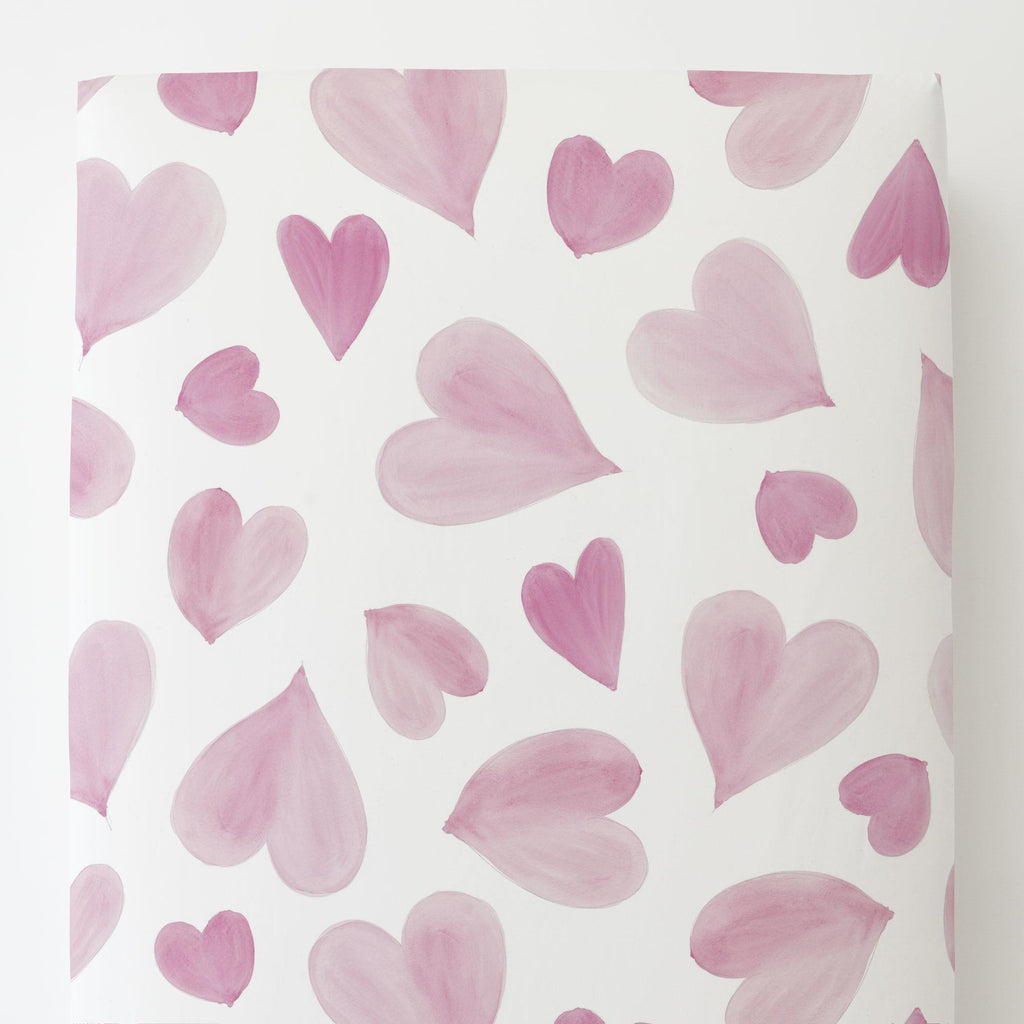 Product image for Pink Watercolor Hearts Toddler Sheet Bottom Fitted