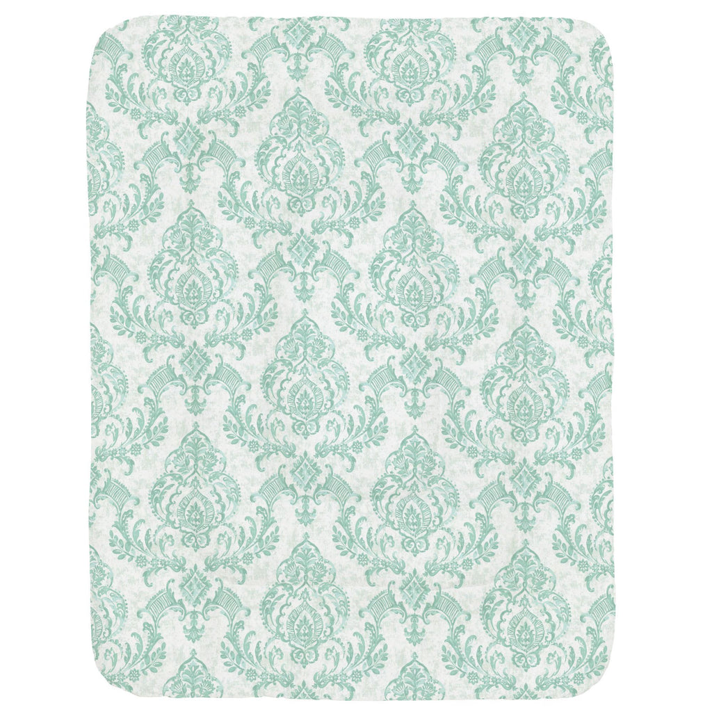 Product image for Mint Painted Damask Crib Comforter