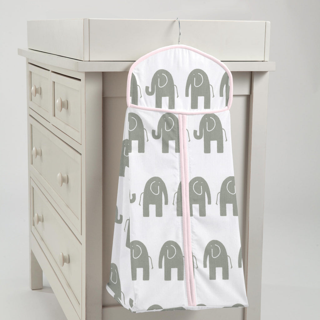 Product image for Pink and Gray Elephants Diaper Stacker