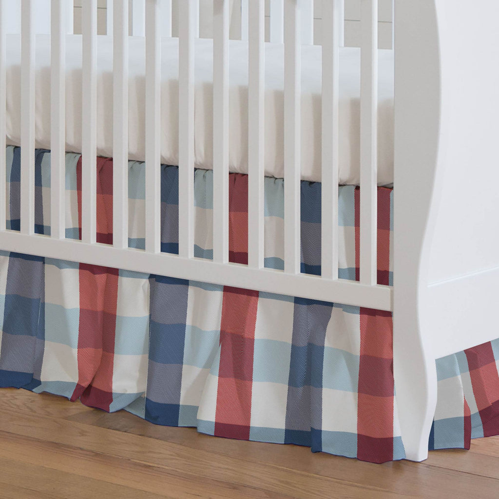 Product image for Navy and Red Buffalo Check Crib Skirt Gathered