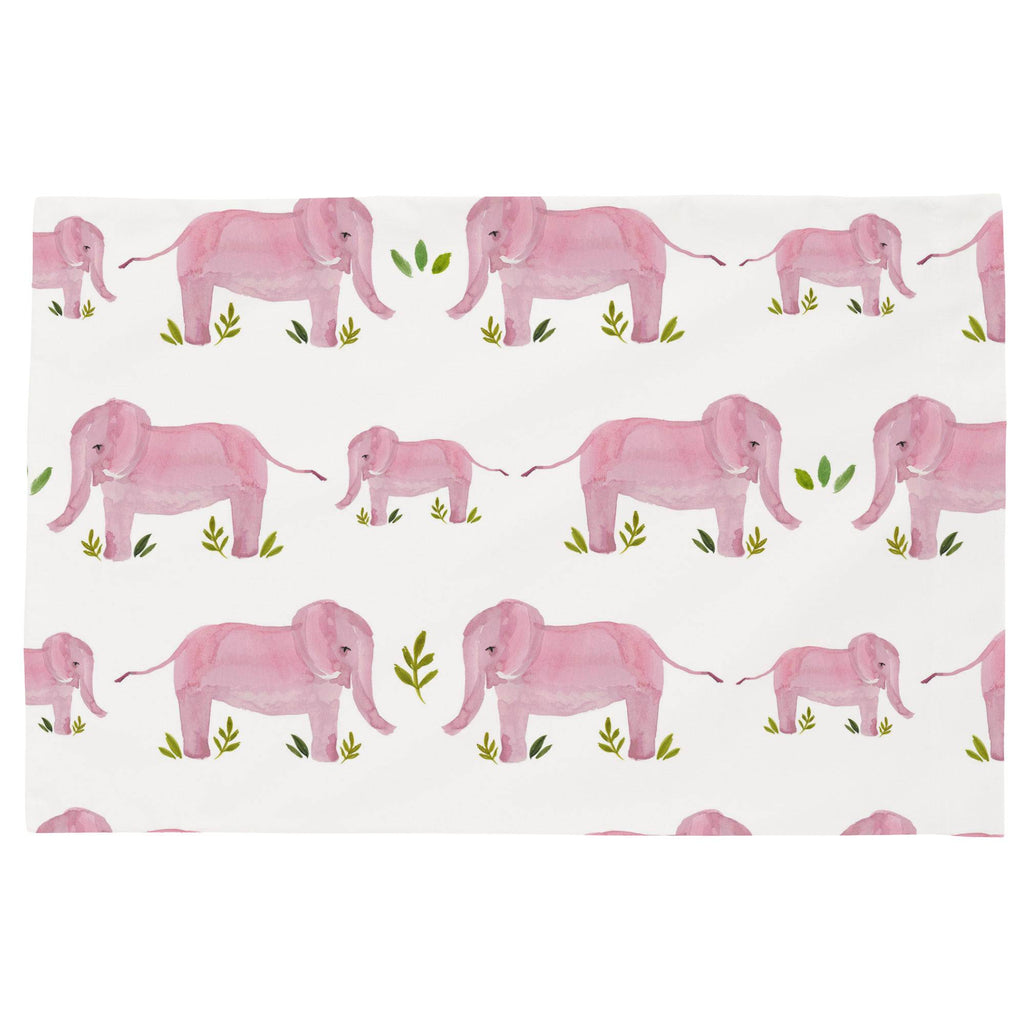Product image for Pink Painted Elephants Toddler Pillow Case
