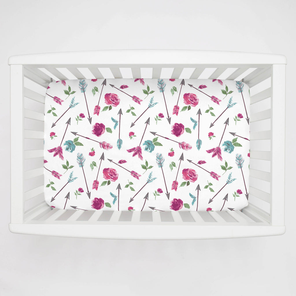 Product image for Floral Arrow Mini Crib Sheet