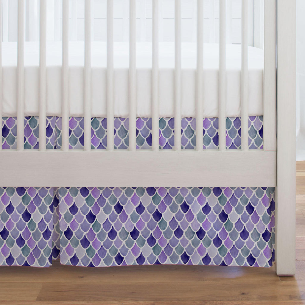 Product image for Lilac Watercolor Scales Crib Skirt Single-Pleat
