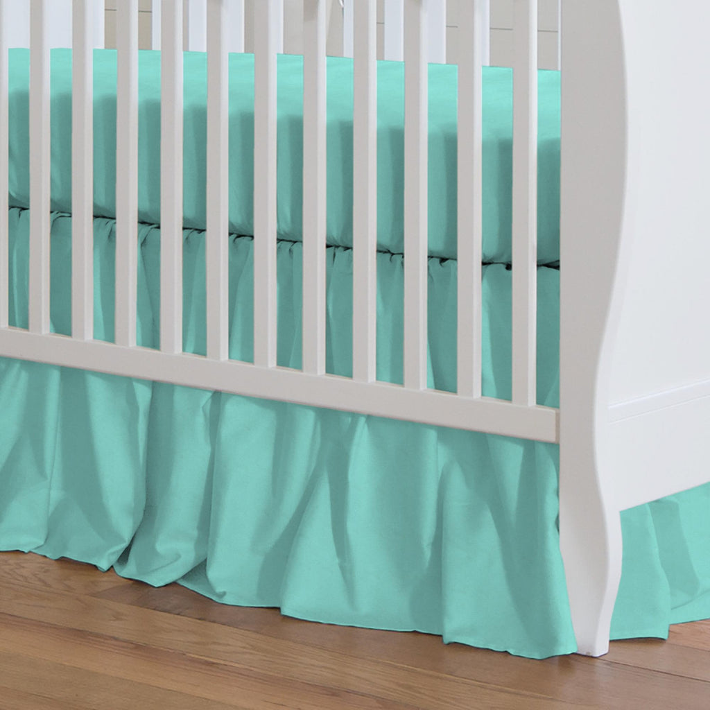 Product image for Solid Teal Crib Skirt Gathered