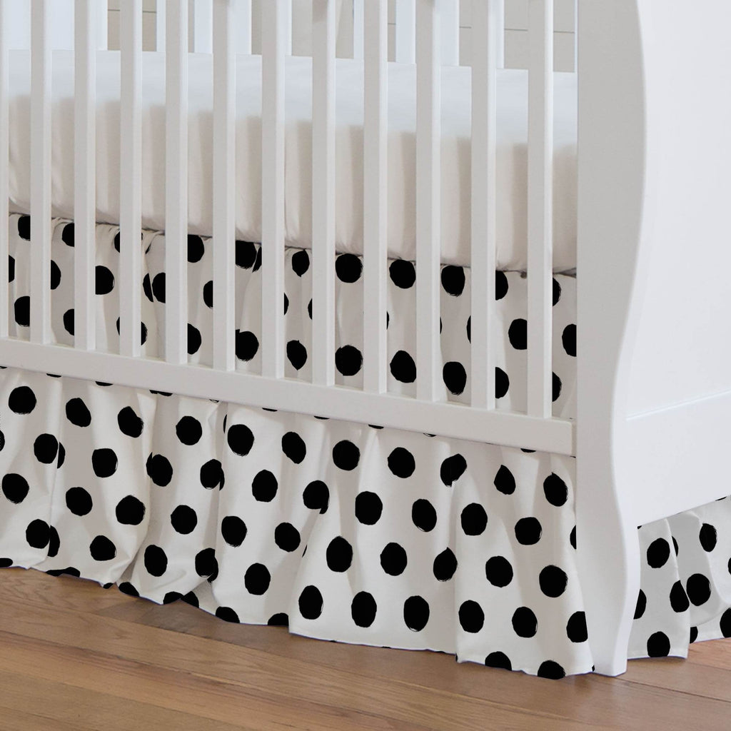 Product image for Onyx Brush Dots Crib Skirt Gathered