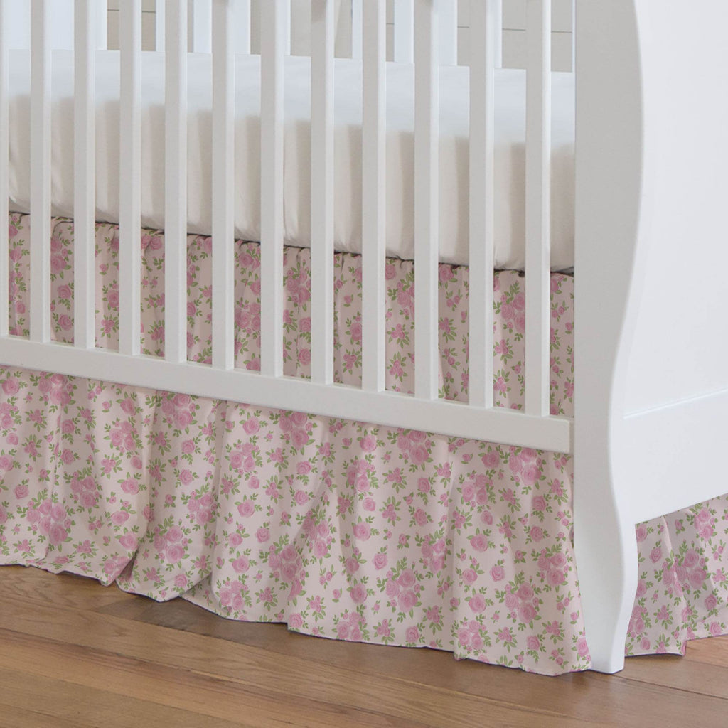 Product image for Pink Rosettes Crib Skirt Gathered
