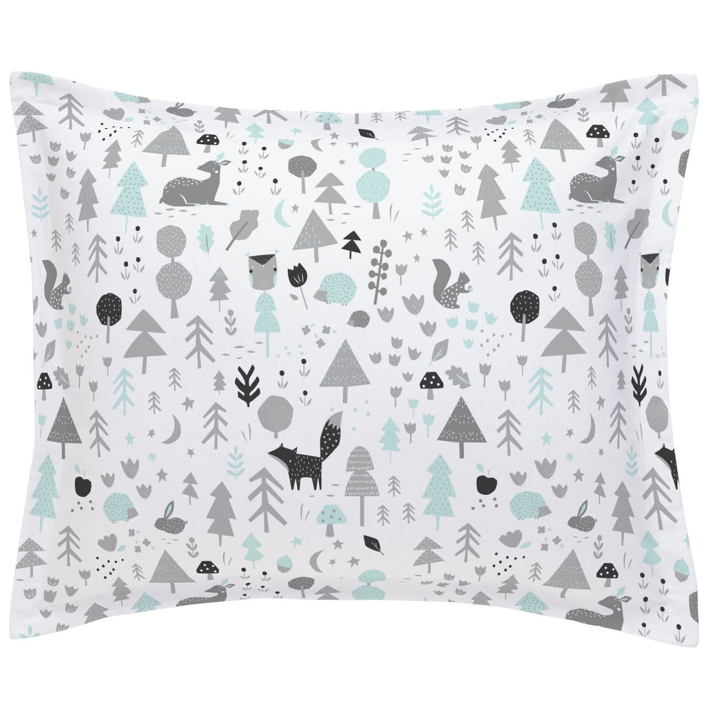 Product image for Icy Mint and Silver Gray Baby Woodland Pillow Sham