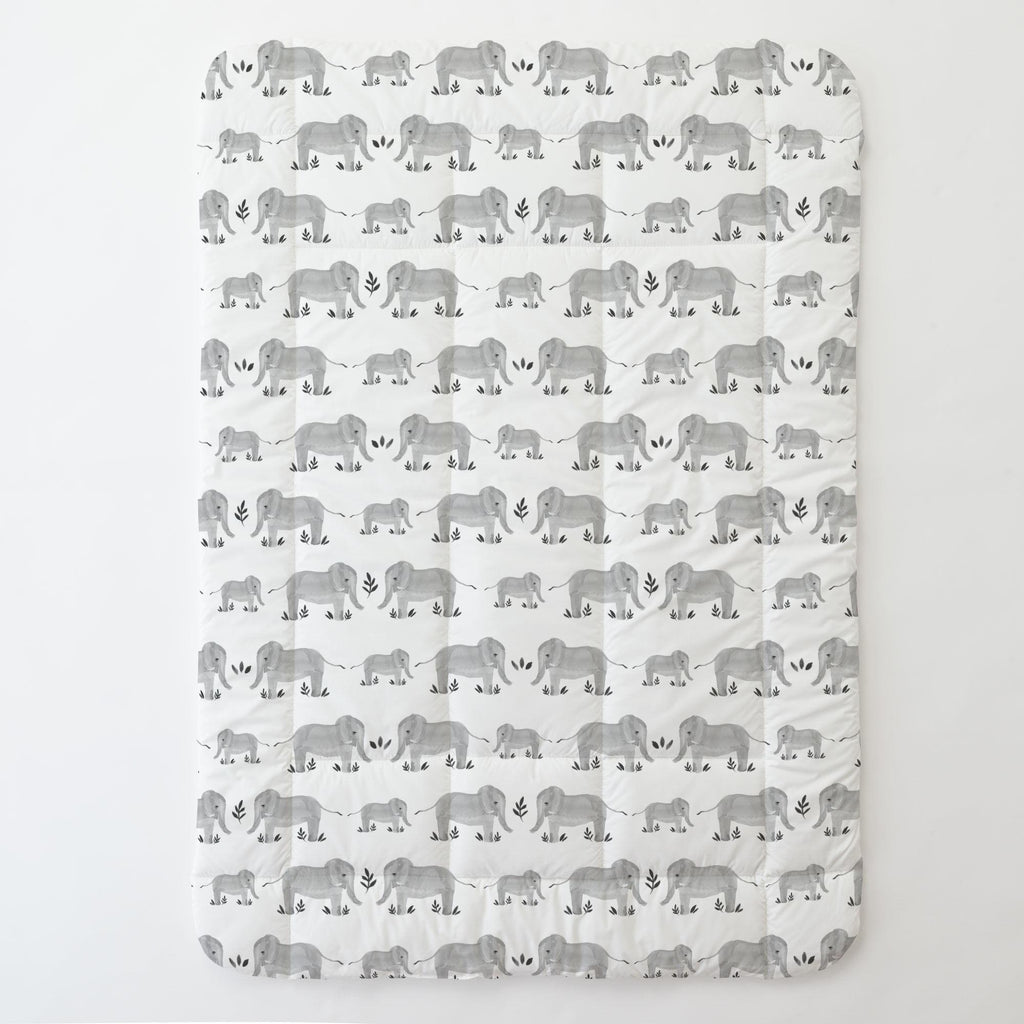 Product image for Gray Painted Elephants Toddler Comforter