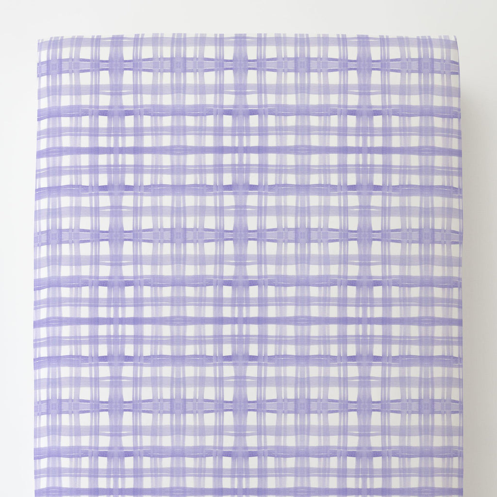 Product image for Lilac Watercolor Plaid Toddler Sheet Bottom Fitted