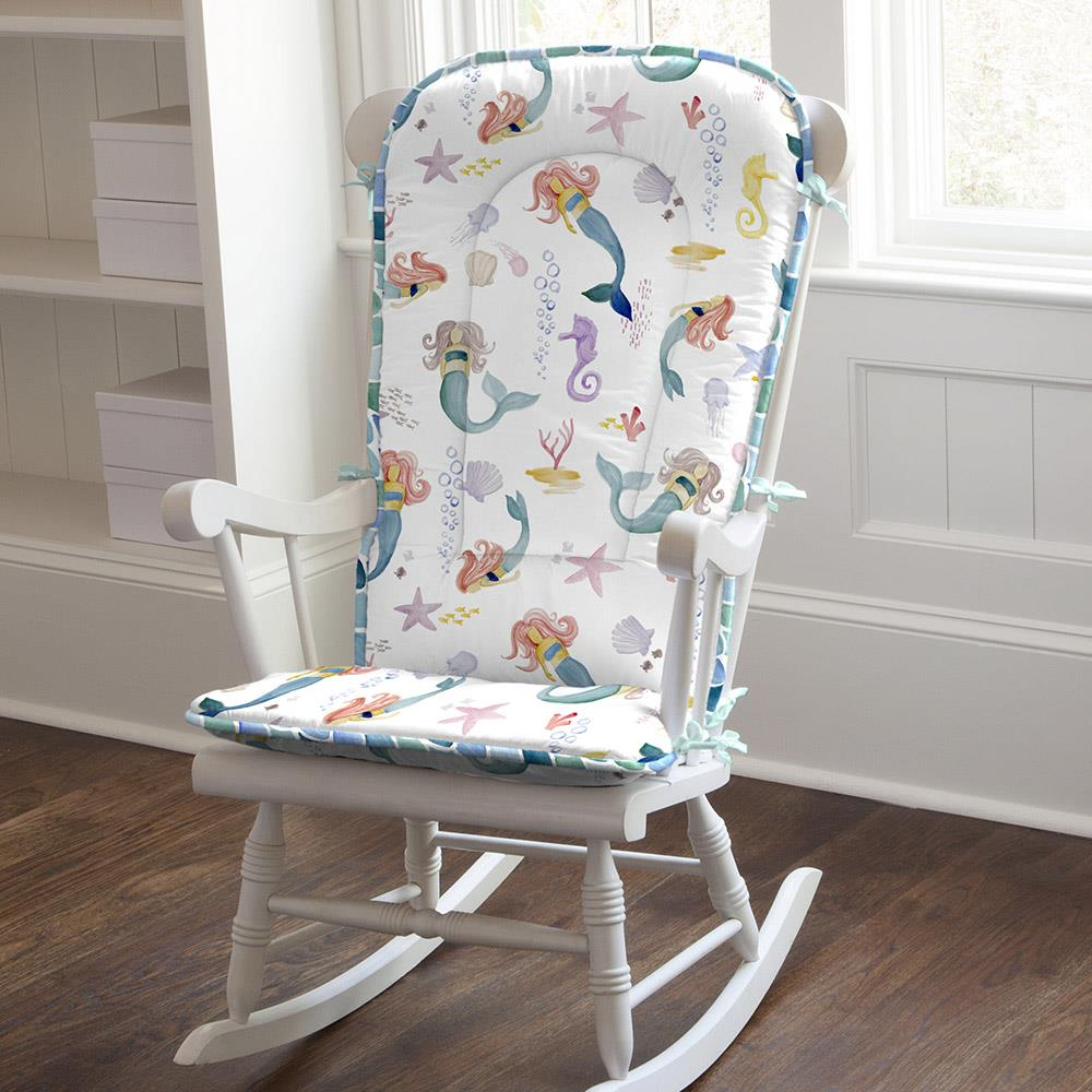 Product image for Watercolor Mermaids Rocking Chair Pad