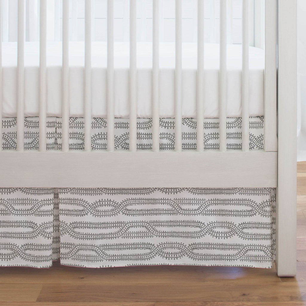 Product image for Gray Train Tracks Crib Skirt Single-Pleat