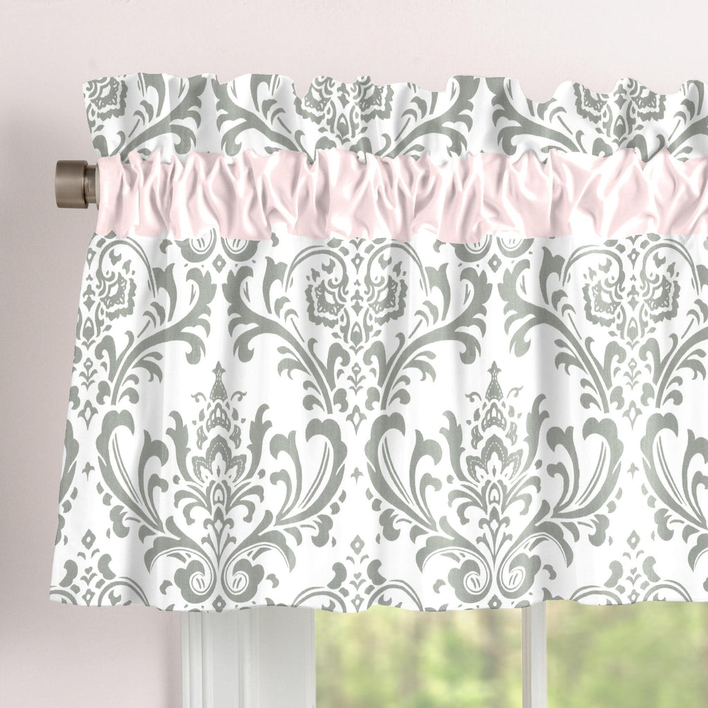 Product image for Pink and Gray Traditions Damask Window Valance