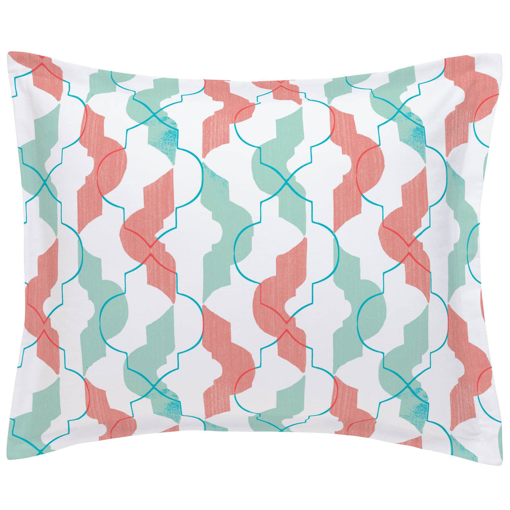 Product image for Coral and Teal Modern Quatrefoil Pillow Sham
