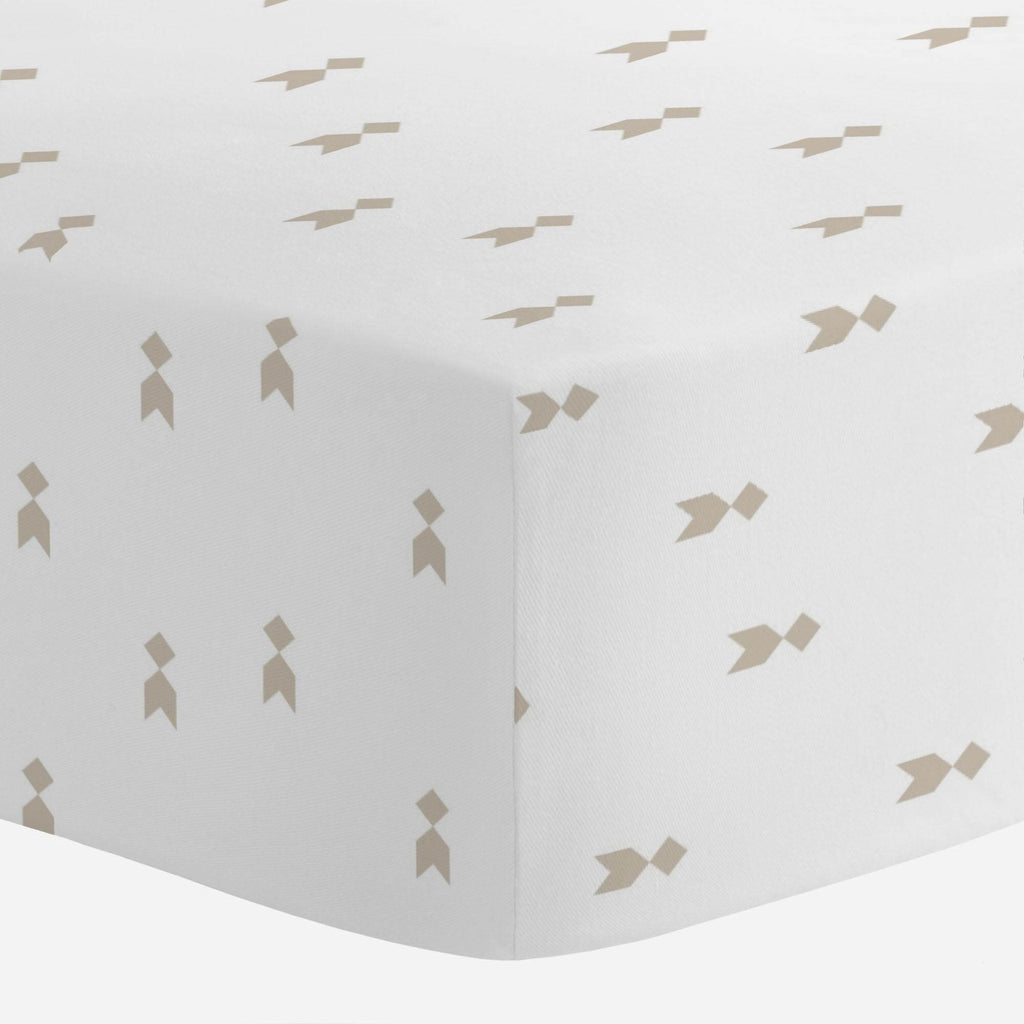 Product image for Taupe Flying Diamonds Crib Sheet