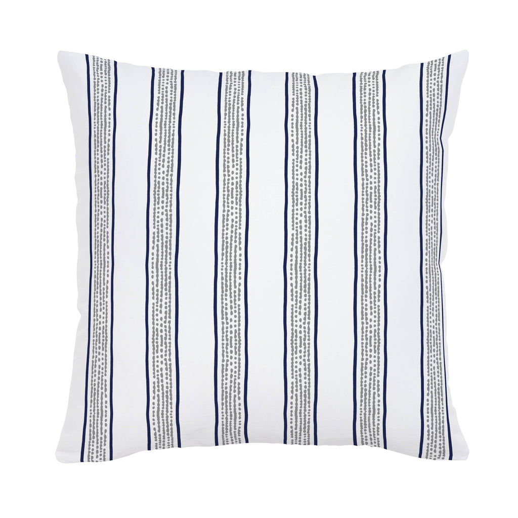 Product image for Navy and Gray Beach Stripe Throw Pillow