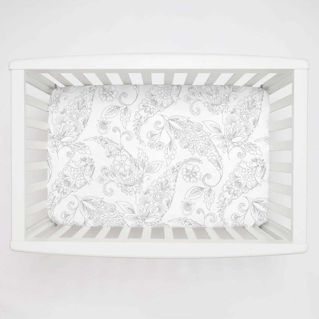 Product image for Cloud Gray Sketchbook Floral Mini Crib Sheet