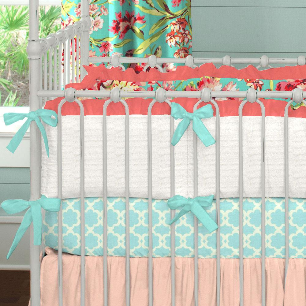 Product image for Coral and Teal Floral Crib Bumper