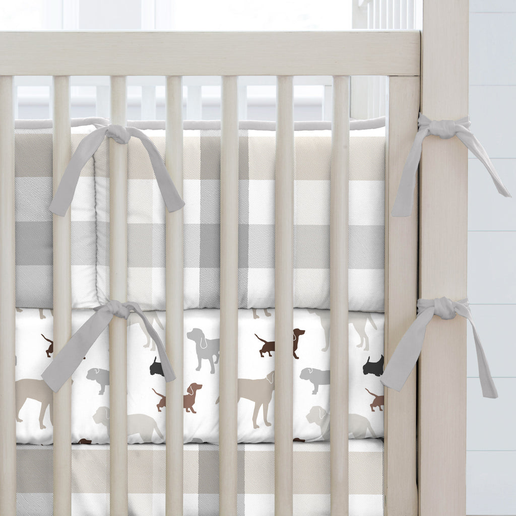 Product image for Gray and Taupe Buffalo Check Crib Bumper