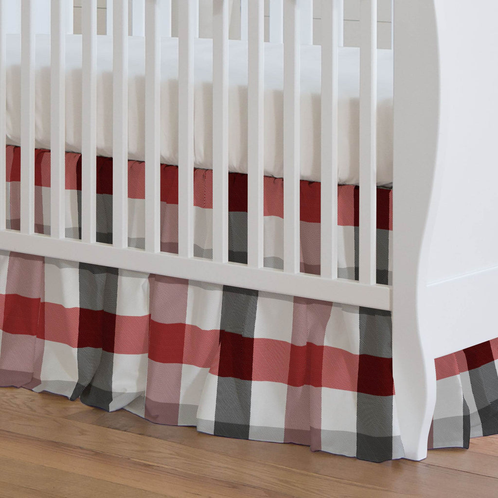 Product image for Red and Onyx Buffalo Check Crib Skirt Gathered