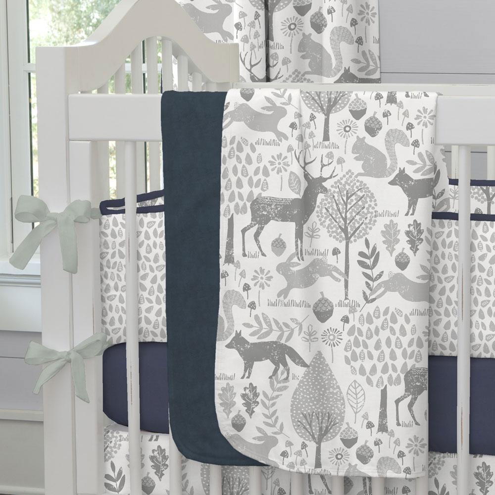Product image for Gray Woodland Animals Baby Blanket
