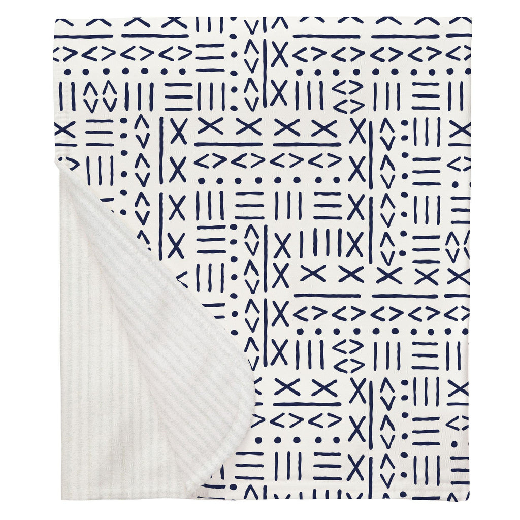 Product image for Navy Mudcloth Baby Blanket