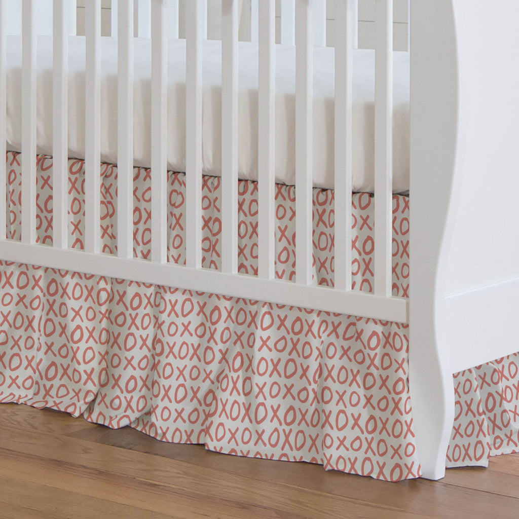 Product image for Light Coral XO Crib Skirt Gathered