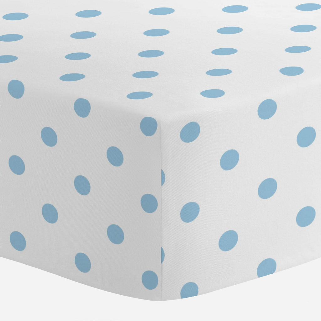 Product image for White and Lake Blue Dot Crib Sheet