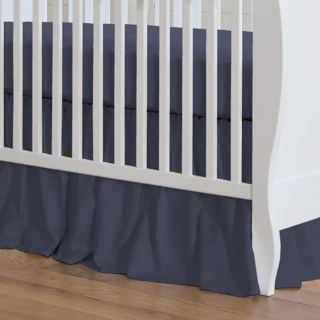 Product image for Solid Navy Crib Skirt Gathered