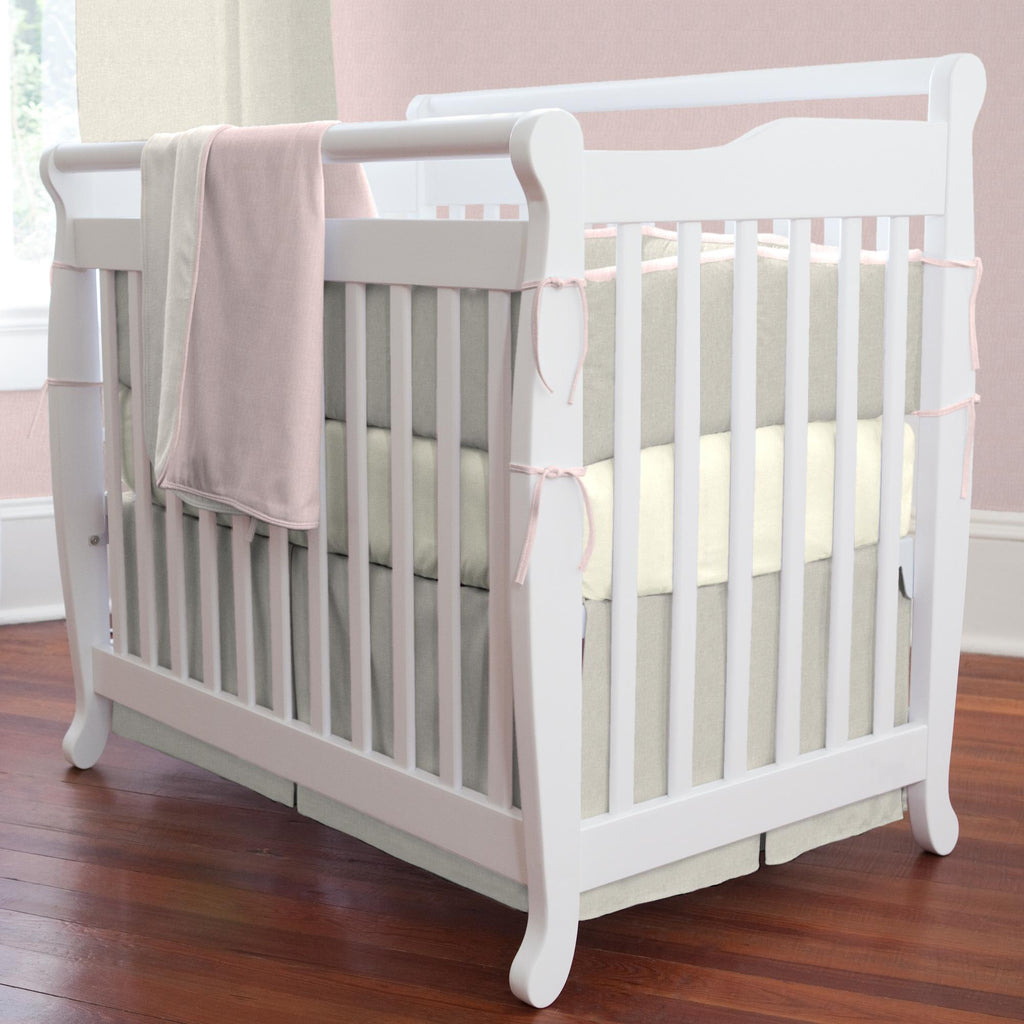 Product image for Light Pink and Flax Linen Mini Crib Bumper