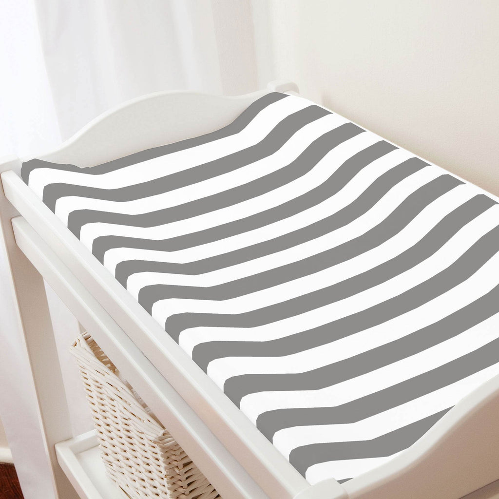 Product image for White and Gray Stripe Changing Pad Cover