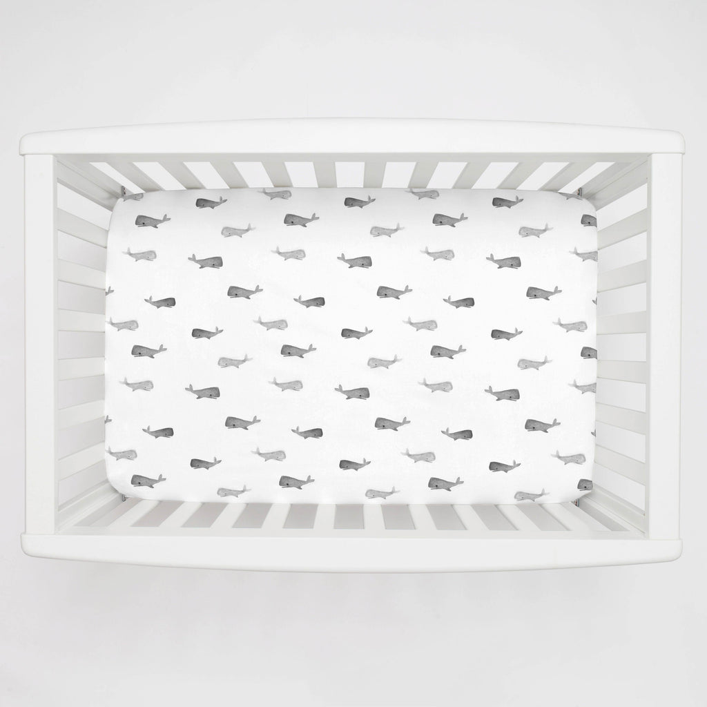 Product image for Gray Whale of a Tale Mini Crib Sheet