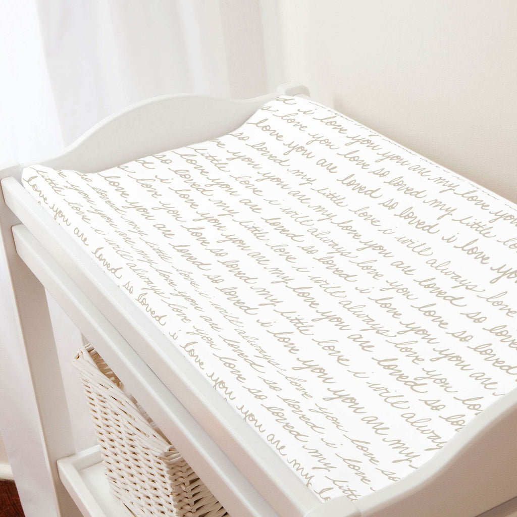 Product image for Taupe Love Words Changing Pad Cover