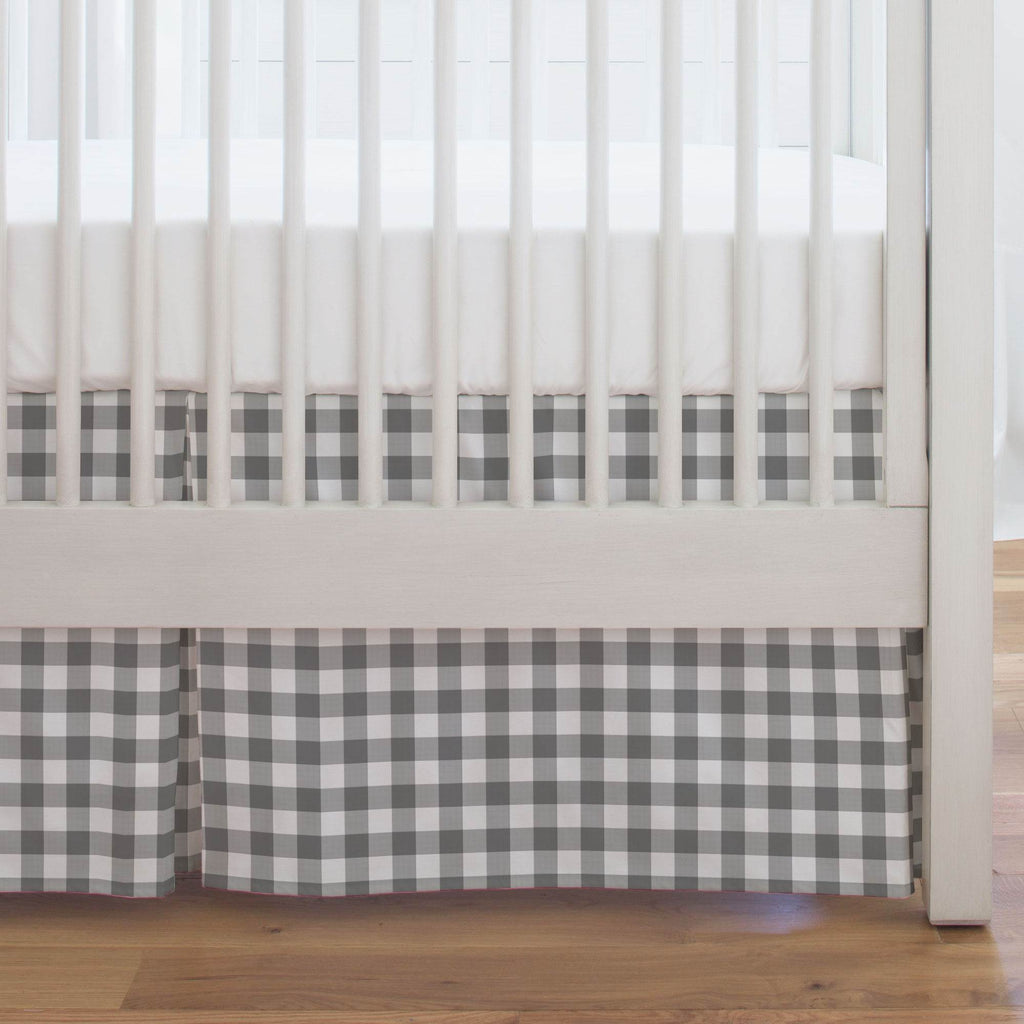 Product image for Gray Gingham Crib Skirt Single-Pleat