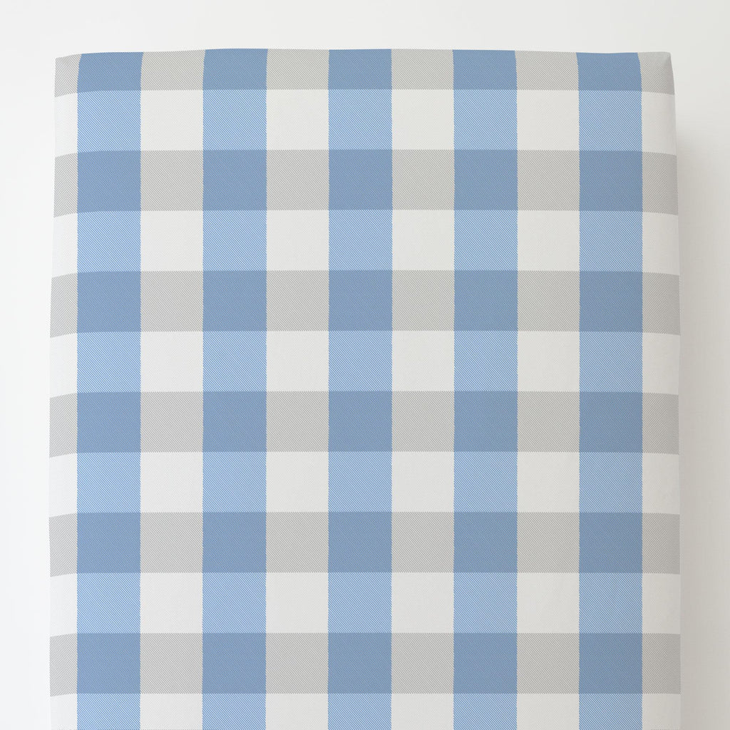 Product image for Blue and Silver Gray Buffalo Check Toddler Sheet Bottom Fitted
