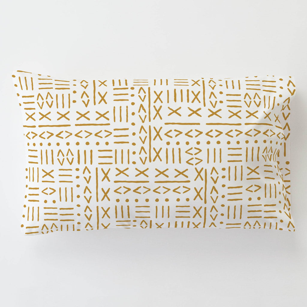 Product image for Mustard Mudcloth Toddler Pillow Case with Pillow Insert