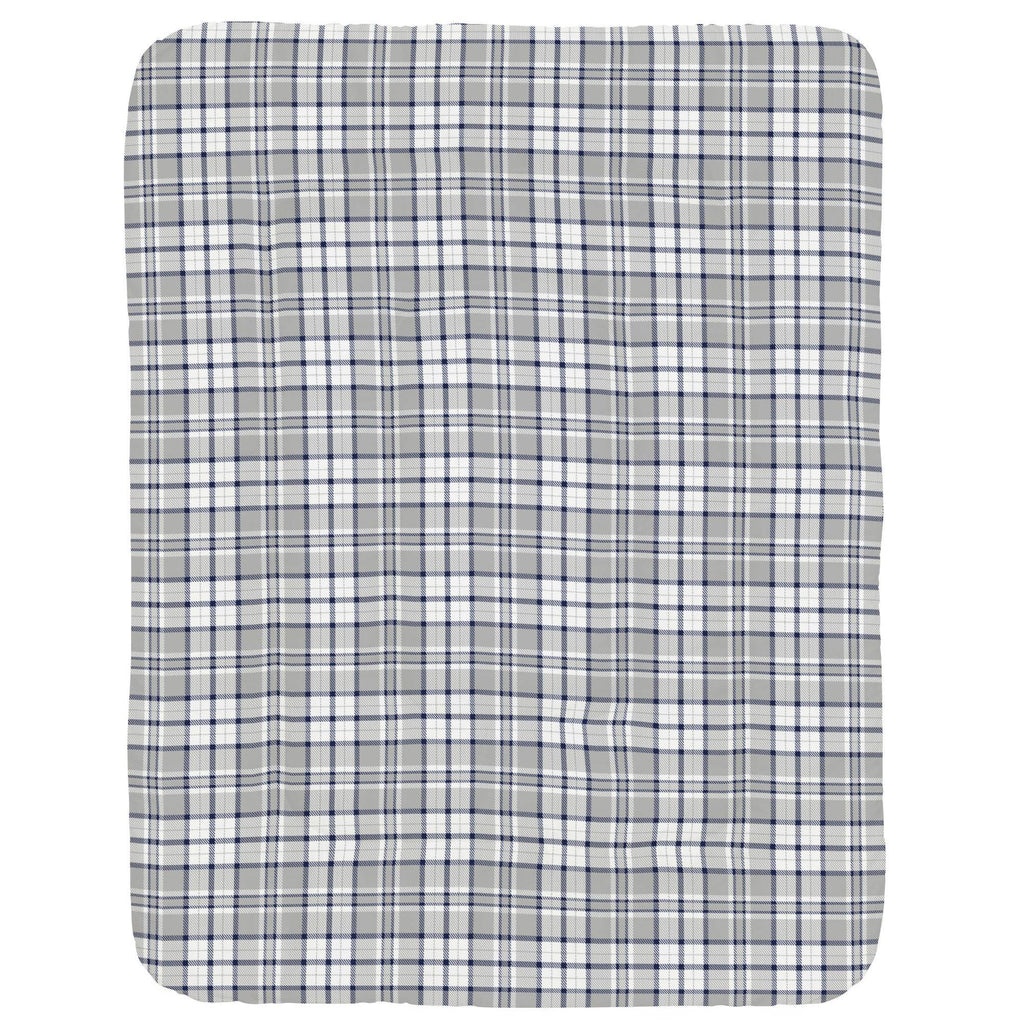 Product image for Navy and Gray Plaid Crib Comforter