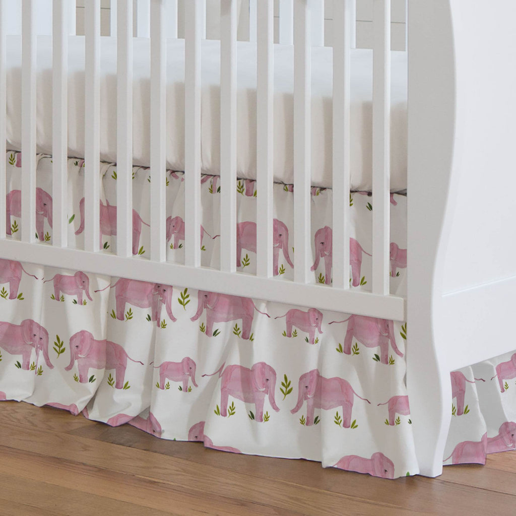 Product image for Pink Painted Elephants Crib Skirt Gathered